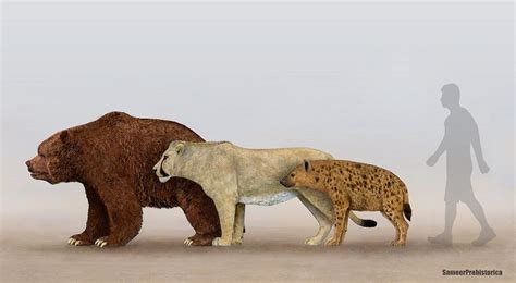 Cave Bear, Cave Lion and Cave Hyena by SameerPrehistorica