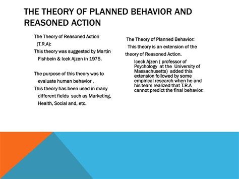 PPT - The Theory of Planned Behavior and Reasoned action