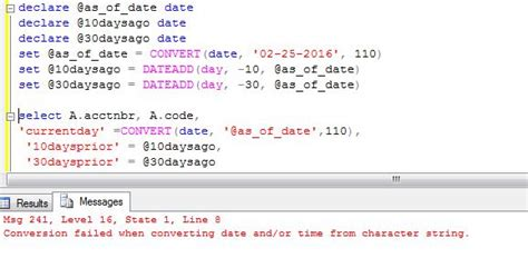 sql - tsql - Conversion failed when converting date and/or
