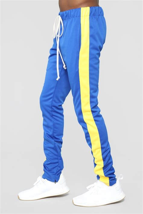 Retro Track Pant - Blue/Yellow   Mens casual outfits