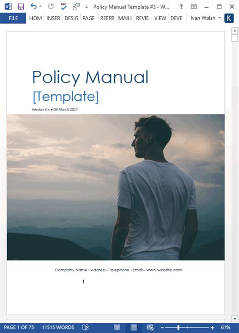 Download Policy & Procedures Manual templates (MS Word 68