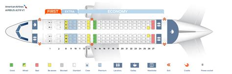 """Seat map Airbus A319-100 """"American Airlines"""""""