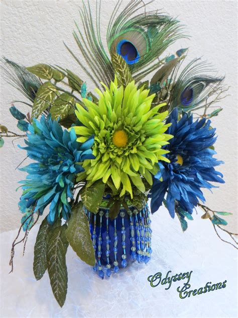 Victorian Peacock Silk Floral Arrangement in green blue and