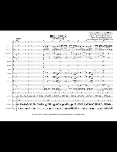 BELIEVER - Imagine Dragons (Marching Band) sheet music for