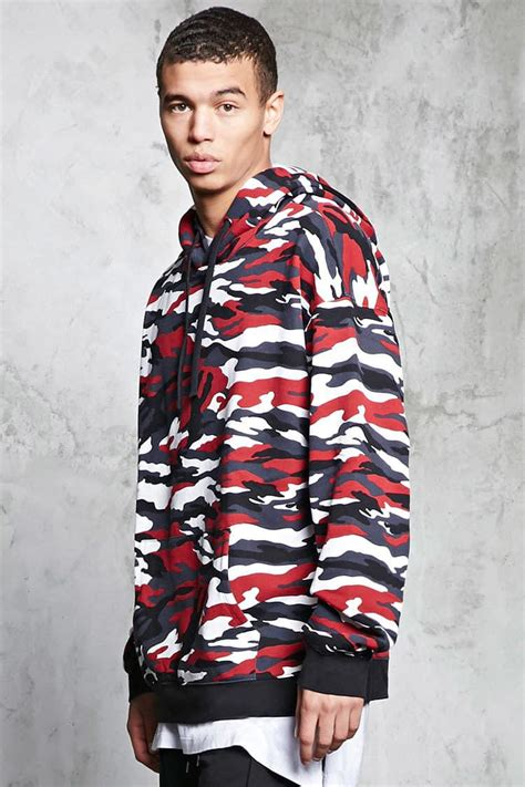 Forever 21 Fleece Camo Print Hoodie in Black/Red (Red) for