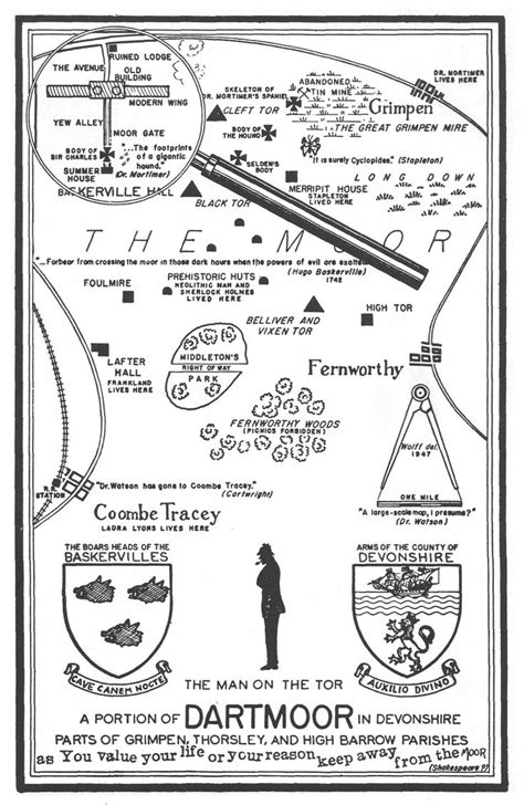 """Map of the """"Hound of the Baskervilles"""" adventure in"""